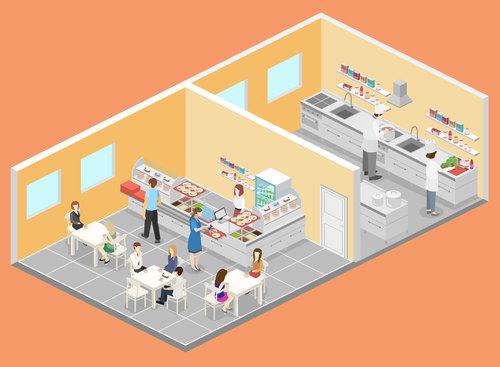 Cafeteria cartoon illustration vector