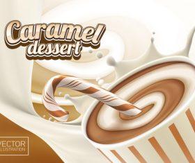 Caramel dessert advertising illustration vector