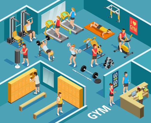 Cartoon gym Isometric illustration vector