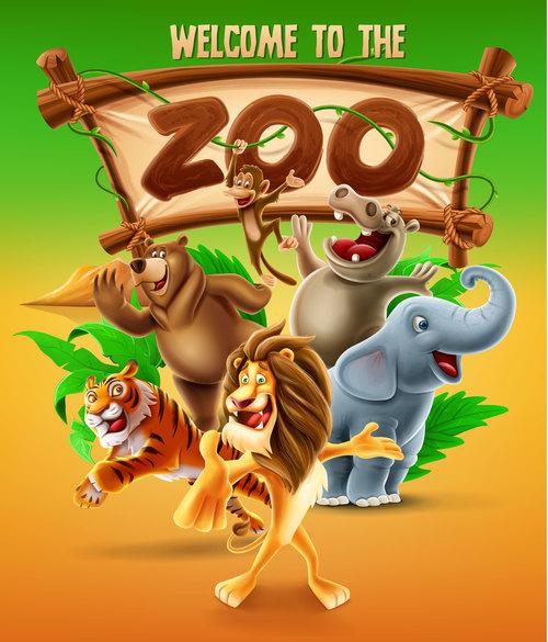 Cartoon illustration zoo banner vector