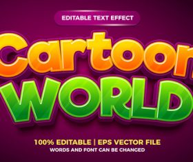 Cartoon world editable text effect style vector