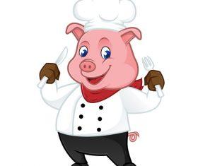 Chef pig cartoon illustration vector holding fork and knife