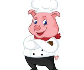 Chef pig cartoon mascot vector