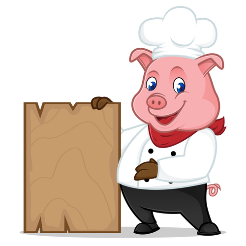 Chef pig holding wooden plank cartoon illustration vector