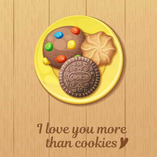 Chocolate chip cookies vector on plate