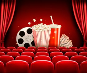 Cinema background with red curtains vector