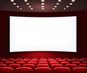 Cinema hall vector with red chairs