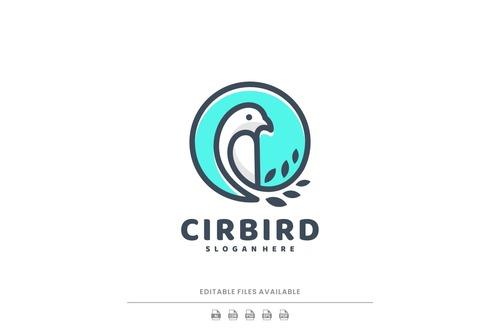 Circle bird line art logo vector