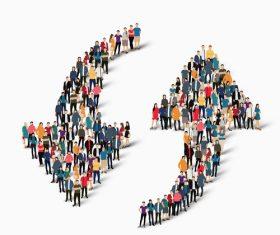 Circulation icon people composition vector