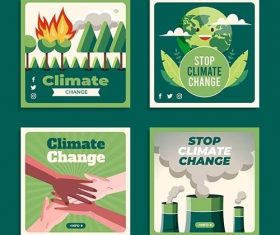 Climate change instagram posts collection vector