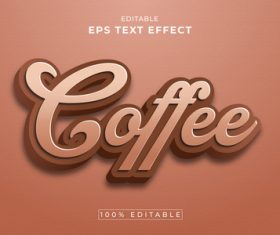 Coffee editable eps text effect vector