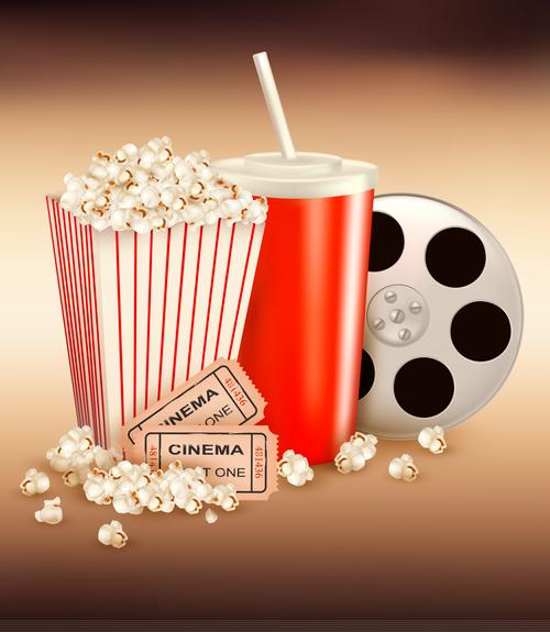 Cola popcorn film vector