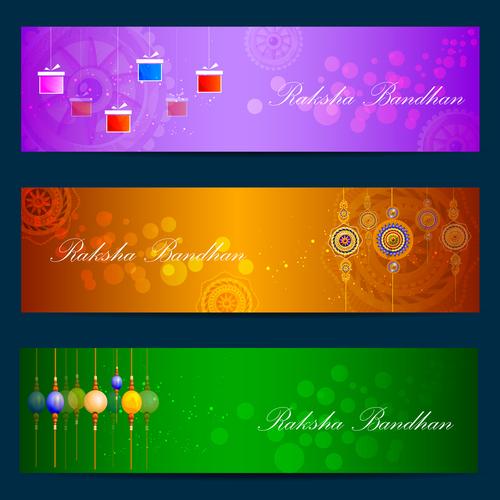 Color banner raksha bandhan vector