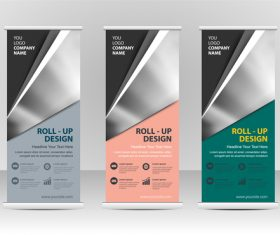 Color roll up banner vector