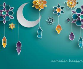 Colorful Ramadan lantern festival card vector