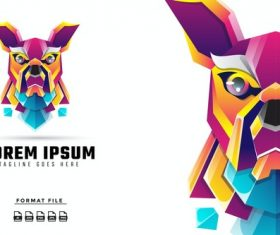 Colorful dog gradient logo template vector