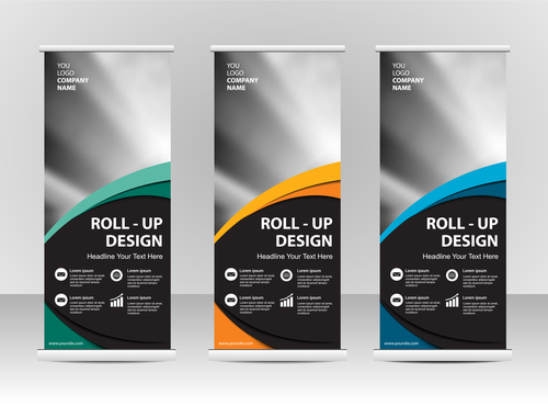 Colorful geometric cover roll up vector