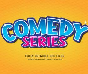 Comedy series editable text vector
