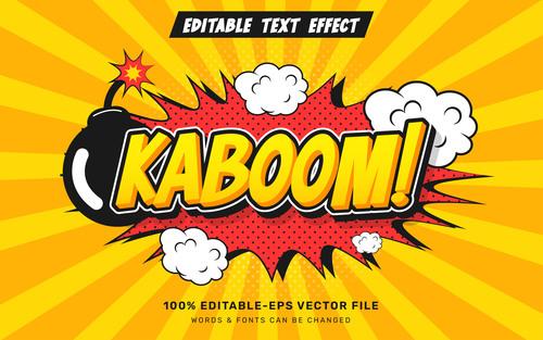 Comic editable text effect vector