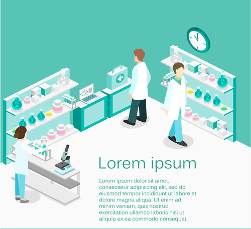 Cosmetic testing laboratory cartoon illustration vector