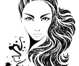 Cute girl avatar vector