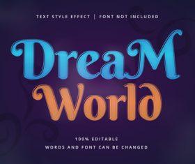DREAM WORLD text effect vector