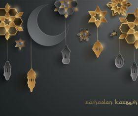Dark Ramadan lantern festival card vector