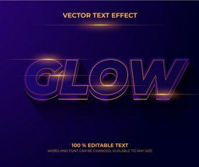 Dark glow editable text vector