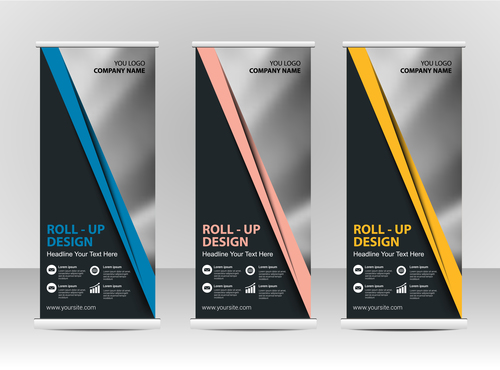 Dark triangle roll up banner vector