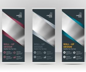 Dark vertical business banners vector