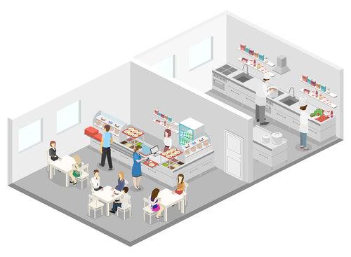 Decomposition cafeteria cartoon illustration vector