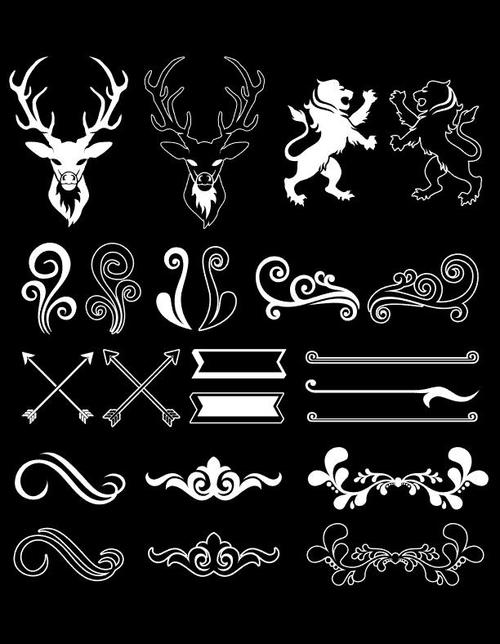 Decorative pattern element frame vector