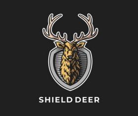 Deer emblem shield design vector