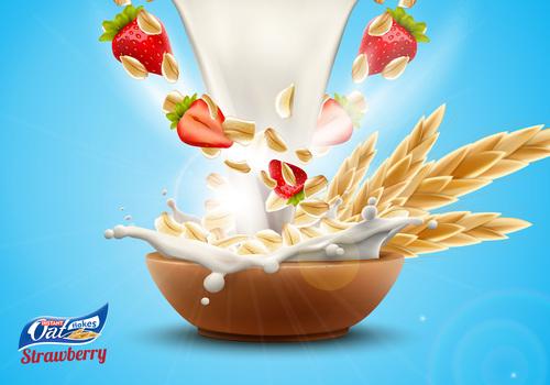 Delicious strawberry and big milk splash advertising flyer vector