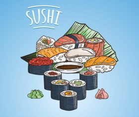 Delicious sushi roll vector