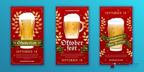 Detailed oktoberfest instagram stories collection vector