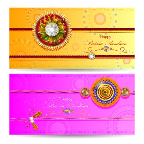 Different colors raksha bandhan banner vector