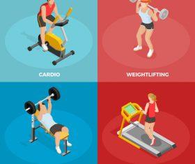Different fitness methods illustration vector