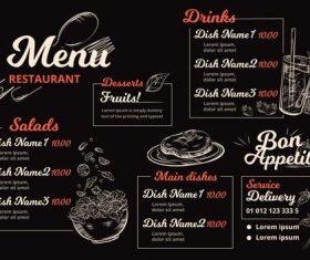 Digital restaurant menu horizontal format vector