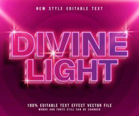 Divine light shiny editable text effect style vector