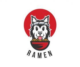 Dog eat ramen logo design vector