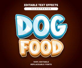 Dog food editable text effects vector
