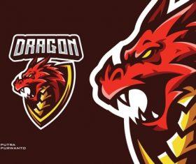 Dragon mascot esport gaming logo vector