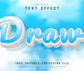 Draw text effect cartoon style vector