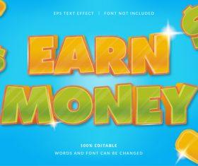 EARN MONEY text effect vector