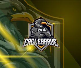 Eagle esport logo template vector