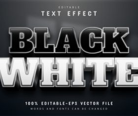 Editable black and white text effect vector
