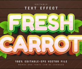 Editable fresh carrot cartoon style text effect vector