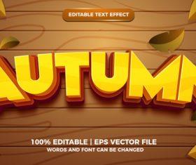 Editable text effect autumn cartoon style vector