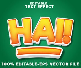 Editable text effect hai with simple comic style vector